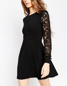 Image 3 of ASOS Skater Dress with Lace Sleeves