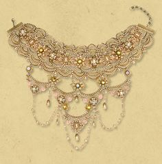 Lace, tiered Michal Negrin choker necklace. Decorated with beaded chains, hand painted brass ornaments, swarovski crystals, glass beads and semiprecious stones. Fastened with a decorated clasp and safety chain. $2536.