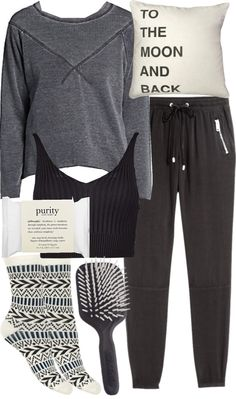 Malia Inspired Winter Sleepwear by veterization featuring folk art Grey sweatshirt / Boohoo crop top / H M clothing, $21 / Black socks, $1.43 / Philosophy travel bag / Folk art / Kent AirHeadz Medium...