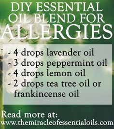, Make your own essential oil blend for allergies to get those runny noses, itchy . , Make your own essential oil blend for allergies to get those runny noses, itchy skin and watery eyes under control! Some of the best essential oils fo. Essential Oils Allergies, Essential Oil Diffuser Blends, Essential Oil Uses, Doterra Essential Oils, Essential Oil Diabetes, Doterra For Allergies, Essential Oils Runny Nose, Essential Oil For Hives, Uses For Essential Oils