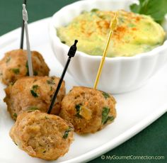 Turkey Meatballs with Avocado-Citrus Dipping Sauce from MyGourmetConnection