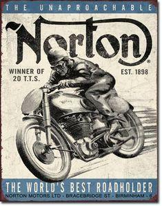 Norton Motors Roadholder TIN SIGN motorcycle ad vtg metal wall decor garage 1706