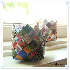 basket made out of magazine