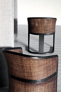 Grace Cane back armchair Wood species brushed ash Upholstery fabric, ecoleather, leather by Mauro Lipparini