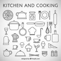 Keuken en koken iconen Premium Vector