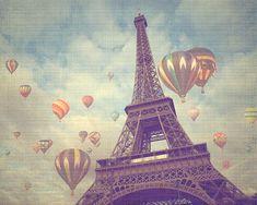 Paris Photograph Eiffel Tower Hot Air Balloons by pixamatic