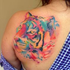 Image result for watercolor tattoo tiger