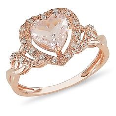 THIS is a perfect engagement ring for me. Pink. Heart. And it doesn't cost a fortune. #LOVE 1 1/4 Carat TGW Morganite and 1/10 Carat T.W. Diamond Ring in 10kt Rose Gold. So pretty!