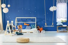 Star bedroom with swing by bialasiewicz. Star bedroom with swing, kids clothes rack, bed and lamps Star Bedroom, Kids Bedroom, Modern Girls Rooms, Nursery Decor, Room Decor, Girl Nursery, Art Decor, Colorful Wall Art, Bedroom Carpet
