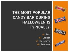 Halloween Trivia: Snickers is typically the most popular Halloween candy. Halloween Trivia, Halloween Facts, Halloween Candy, October Calendar, Popular Candy, Lunch Time