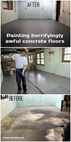 Painted Basement Floor - Turn disgusting, stained basement floors into perfectly respectable and attractive basement floors: it's easy!Turn disgusting, stained basement floors into perfectly respectable and attractive basement floors: it's easy! Basement Gym, Basement Renovations, Home Renovation, Home Remodeling, Basement Ideas, Basement Apartment, Basement Plans, Basement Designs, Damp Basement