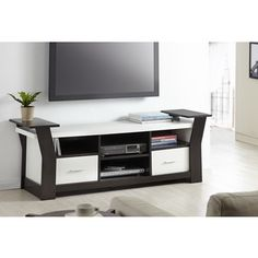 Furniture of America Skyler Contemporary 64-inch Wide Black/White Brown Cappuccino Two Drawers Entertainment TV Console | Overstock™ Shopping - Great Deals on Furniture of America Entertainment Centers