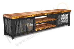 Mozilya Mass Loft Wooden Tv Stand / Mozilya Mass Loft Wooden Tv Stand - With its modern and dynamic design, TV coffee table with wood-metal combination will add elegance t - Tv Cabinet Design, Tv Unit Design, Tv Wall Design, Industrial Tv Stand, Industrial Style Furniture, Vintage Industrial, Iron Furniture, Steel Furniture, Home Decor Furniture