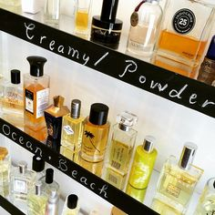 Some of our special shelves at Scent Bar - shopping by style and note is so much fun! #niche #perfume #luckyscent