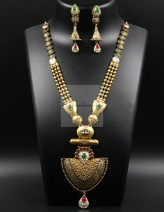 C M Jewellers. Gold Jewelry Simple, Gold Jewellery Design, Jewelry Patterns, Antique Jewelry, Antique Gold, Bridal Jewelry, Gold Necklace, Emerald Necklace, Necklace Set