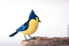 Купить Тайваньская синица - интерьерная игрушка - разноцветный, желтый, синий, синичка, синица, птица