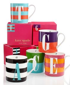 kate spade new york Wickford Monogram Mug Collection - - Macy's