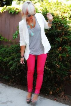 Bright pants. Gray tee. White featherweight cardi.