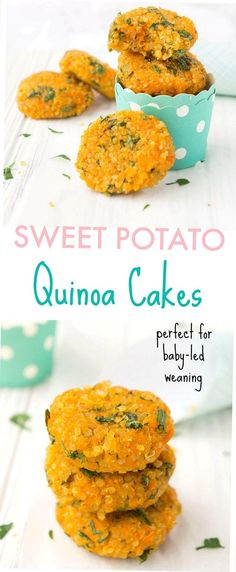 Looking for a fun and healthy side or snack These Sweet Potato Quinoa Cakes are a delicious way to pack in lots of nutrients and are incredibly easy to make Make up a batch in advance for a quick readymade option throughout the week glutenfree  vegan Healthy Toddler Snacks, Healthy Vegan Snacks, Healthy Sides, Healthy Recipes, 21 Day Fix, Potato Recipes, Baby Food Recipes, Snacks Recipes, Muffin Recipes