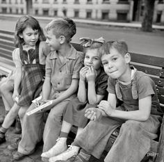 """September 1941. """"Millworkers' children. Holyoke, Massachusetts. . . look like typical American children of the era.. clean, well groomed, and well fed. . . we were blessed."""
