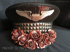 """Captain's Hat: """"Roses in Flight"""" by MoxieandMojoFashion on Etsy & www.moxieandmojo.com"""