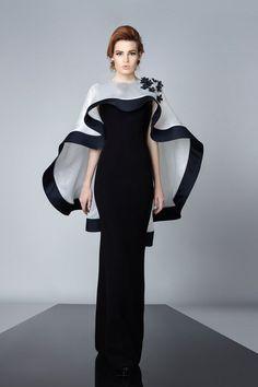 ed2b416a7 Black   White gown and cape by Edward Arsouni Couture 2016 13 bmodish  Vestido Para Gorditas