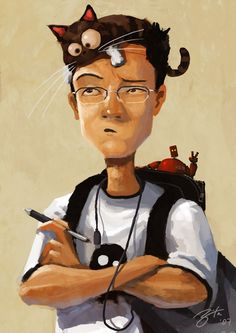 """by Goro Fujita (I have no idea what to do with a paw on my forehead and a """"monkey"""" on my back)"""