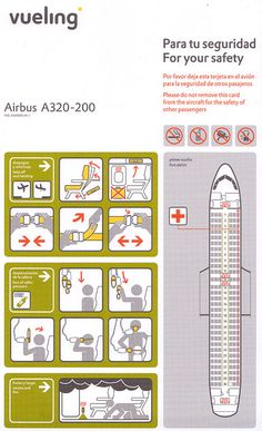 Airline Safety Card For vueling Airbus A320, Safety Instructions, Technical Illustration, Information Design, Aviation, Aircraft, Airplanes, Maps, Spain