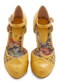 Vivacious Visit Heel in Saffron. As soon as you cross the threshold in these saffron heels from Chelsea Crew, youre greeted with elation, first for your mere presence, and next for your shoes. #yellow #wedding #modcloth