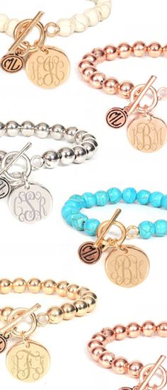 This is the perfect engraved bracelet to stack in your arm party! The Monogrammed Ball Bracelet is available NOW from Marleylilly.com and that includes the monogram! #monogrammed