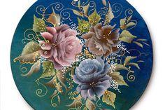 Роспись акриловыми красками в стиле «двойной мазок». Тагильская роза.