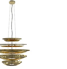 Hendrix pendant lamp has a simple geometry that was designed to ensure that all the five gold-plated brass tiers are struck by the rays of light in the same angle, creating a glare free illumination