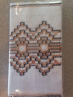 Calendar cover on huck toweling Swedish Embroidery, Towel Embroidery, Cross Stitch Embroidery, Huck Towels, Swedish Weaving Patterns, Chicken Scratch Embroidery, Cat Cross Stitches, Monks Cloth, Weaving Designs