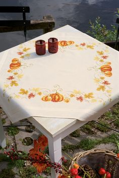 vervaco, cross stitch, embroidery, table cloth, pumpkin, autumn, orange, leaves