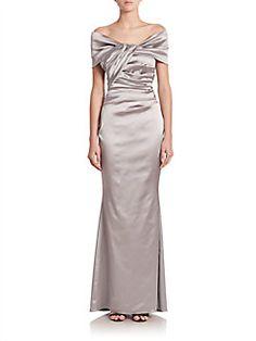 Talbot Runhof - Off-Shoulder Stretch Satin Gown