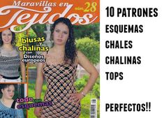 Revista con 10 patrones maravillosos de croché con chales, chalinas, tops, muy interesante, tall...