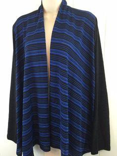 Womens Plus 3X Open Cardigan Black Blue Lightweight Sweater Made in USA XXXL #Trac #Cardigan