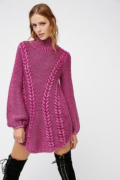 Cozy up in this thick knit sweater mini dress with a comfy turtleneck and cute rounded hem. Unique Outfits, Cute Outfits, Passion For Fashion, Love Fashion, Poncho, Costume, Knit Dress, Autumn Winter Fashion, Dress To Impress