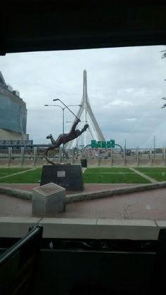 Bobby Orr Statue by TD Boston Garden and Leonard P. Zakim Bunker Hill Memorial Bridge