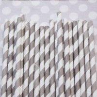 Striped Paper Straws: Soft Grey