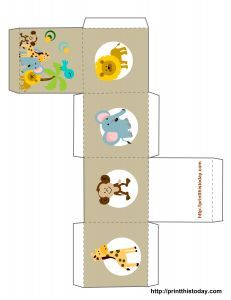 Safari or Jungle themed baby shower favor box and other designs also.