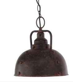 This vintage industrial inspired pendant light features an antiqued dark bronze finish that will add a weathered rustic feel to any space in your home. Dimensions are 10.5 inches wide and 13 inches hi