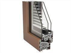 Finstral, sistema Fin-Project con venezianine all'interno dell'anta sdoppiabile con vetro camera e temperato esterno.