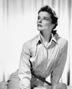How to wear the white Oxford / white button down shirt/ Katharine Hepburn got it right time after time.