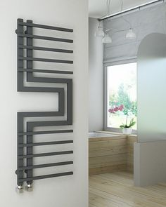 View technical details and pictures of SLIZZA Wide High Anthracite Designer Towel Radiator and purchase online for next business day delivery! Home Radiators, Bathroom Radiators, Towel Radiator, Radiator Cover, Bed Furniture, Furniture Design, Patio Design, House Design, Heated Towel Rail