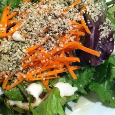 Quinoa rice bowl with greens & hemp seeds for lunch.