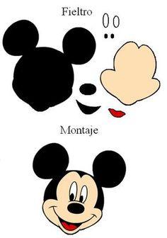 ... de Mickey Mouse. Broche. Patrones de fieltro gratis para imprimir de Mickey E Minnie Mouse, Fiesta Mickey Mouse, Theme Mickey, Mickey Party, Mickey Mouse Birthday, Mickey Mouse Template, Mickey Mouse Crafts, Mickey Mouse Drawings, Elmo Party