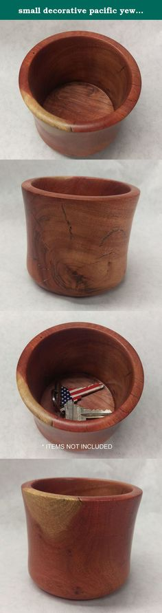 small decorative pacific yew wood bowl/dish. This beautiful wooden bowl makes the perfect display piece for your favorite jewelry items: rings, watches, earrings and even necklaces. Or use it as a catchall for keys, loose change, or any other small items. Not just a perfect place to store small items but also a one of a kind, unique piece of art. Each item is handmade and made in Los Angeles, USA. Every work of art is different and highlights the natural wood. Worm holes, stress cracks...