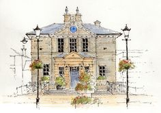 The Grade II listed Town Hall in Wetherby, West Yorkshire ~ sketch ~ John Edwards Watercolor Sketch, Watercolor Landscape, Watercolor Print, Watercolor Painting Techniques, Watercolor Paintings, Watercolours, Yorkshire Towns, West Yorkshire, Art Sketches