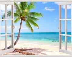 Island beach wall decal 3D window tropical by 3DWindowWallStickers